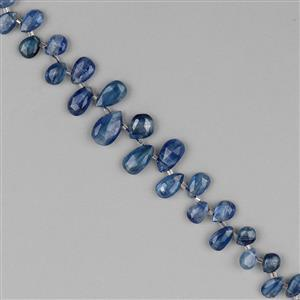 78cts Kyanite Graduated Faceted Pears Approx 6x4 to 14x7mm, 18cm Strand.