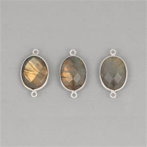925 Sterling Silver Bezel Connectors Approx 23x13mm Inc. 25.5cts Labradorite Faceted Oval Approx 15x11mm (3pcs)