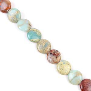 220cts Snake Skin Jasper Puffy Coins Approx 14mm, Approx 38cm strand