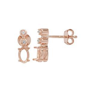 Rose Gold Plated 925 Sterling Silver Oval Earring Mount (To fit 6x4mm gemstone) Inc. 0.06cts White Zircon Brilliant Cut Round 1.25- 1 Pair