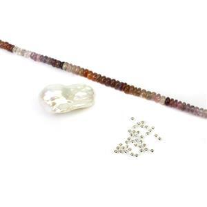 Magnificent Mogok; Mogok Burmese Spinel,  White Freshwater Cultured Baroque Pearl & 925 Spacers