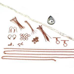 Chic & Unique; Free Form Shell Pendant, Long White Biwa Pearls, Findings 77pcs
