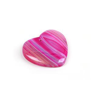 60cts Dyed Fuchsia Stripe Agate Heart Pendant Approx 38-40mm,1pk