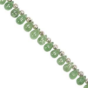 12cts Tsavorite Garnet Side Drilled Plain Drops 2x3 to 3x5mm, 15cm Strand With Spacers