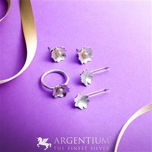 925 Argentium Finest Silver - Forget Me Not Kit (2 x Earrings, 1 x Ring)