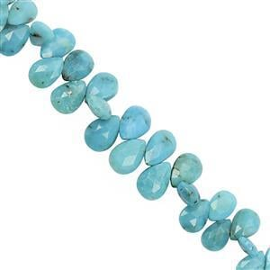 38cts Arizona Turquoise Top Side Drill Faceted Pear Approx 6.5x4 to 10.5x7.5mm, 13cm Strand