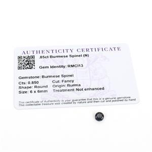 0.85cts Burmese Spinel 6x6mm Round  (N)
