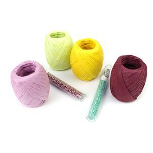 Spring Meadow Raffia Kit; Plum, Lilac, Mint & Yellow Raffia, Dusty Orchid & Mint 8/0s