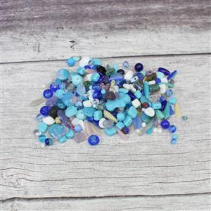 Glass Bead Scoop, Blue Mix Approx 100g