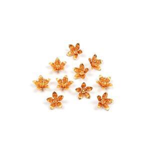 Golden Brass Bead Caps Approx 12mm 10pk