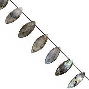 85cts Labradorite Faceted Marquoise Approx 18x7 to 26x9mm, 19cm Strand With Spacers