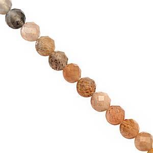 22cts Multi-Colour Moonstone Faceted Round Approx 3.5 to 4mm, 24cm Strand