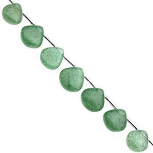 65cts Green Aventurine Quartz Top Side Drill Smooth Heart Approx 8 to 12mm, 18cm Strand with Spacers