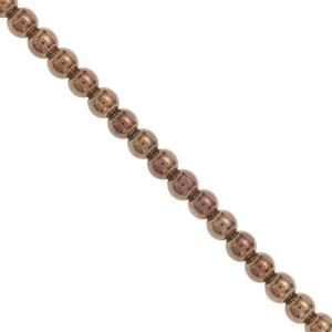 220cts Copper Coated Haematite Smooth Round Approx 4mm, 100cm Strand
