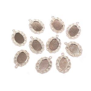 Silver Colour Oval Bezel Approx 29x22mm (10pcs/pk)