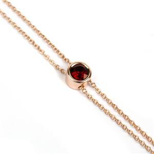 Rose Gold Plated 925 Sterling Silver Slider Bracelet With Deep Red Crystal Swarovski Ball And Pin Ends, Total Length 24cm