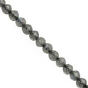 8cts Grey Labradorite Faceted Round Approx 2mm, 32cm Strand