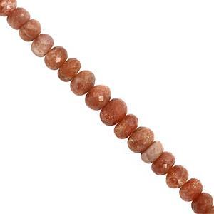 125cts Sunstone Graduated Faceted Rondelle Approx 7x3 to 11x7mm, 20cm Strand
