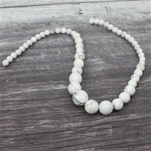190cts White Howlite Graduated Rounds Approx 6-14mm, 38cm strand