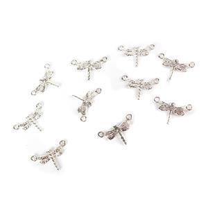 Silver Plated Base Metal Dragonfly Connectors, Approx 20x13mm (10pcs)