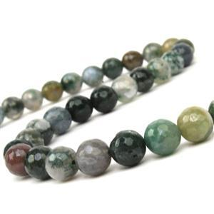 170cts Fancy Jasper (Indian Jasper) Faceted Rounds Approx 8mm, 38cm Strand