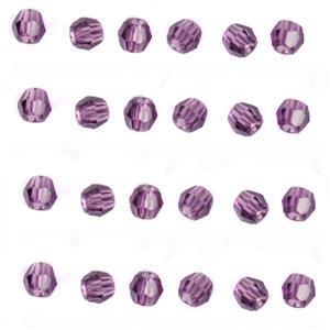 Amethyst Swarovski Round Beads - 3mm, 24pk