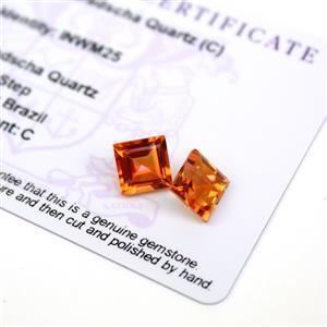 4.5cts Padparadscha Quartz 8x8mm Square Pack of 2 (C)