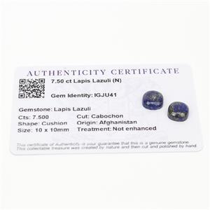 7.5cts Sar-i-Sang Lapis Lazuli 10x10mm Cushion  (N)