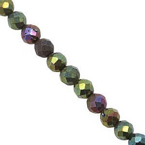 20cts Mystic Green Coated Spinel Micro Faceted Round Approx 3mm, 30cm Strand