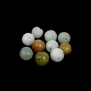 90cts Type A Multi-Colour Jadeite Carved Flower Beads Approx 10mm (10 Pack)