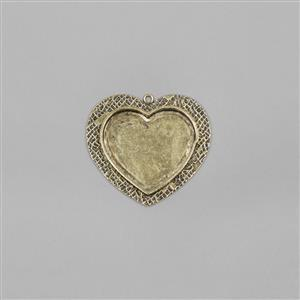 ICE Resin® Antique Bronze Milan Medium Heart Bezel with Closed Backs Approx ID 28x20mm