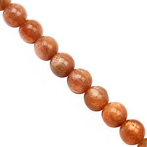 137cts Sunstone Smooth Round Approx 8mm, 27 cm Strand