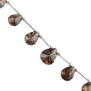75cts Smokey Quartz Graduated Concave Cut Pears Approx 13x9 to 18x9mm, 16cm Strand.