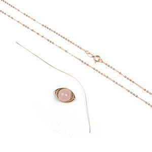 Rose Gold Plated 925 Sterling Silver Eye & Rose Quartz Pendant Mini Make Approx 10mmx15mm (Incl Wire 0.35x80mm and Chain)