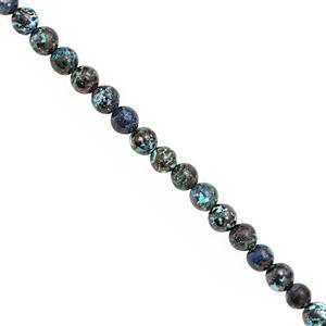38cts Chrysocolla Smooth Round Approx 4mm, 30cm Strand