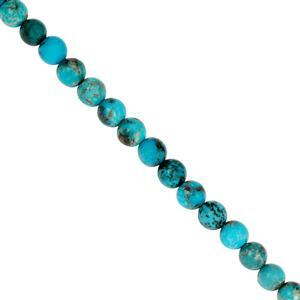 52cts Kingman Turquoise Smooth Rounds Approx 6mm, 20cm Strand