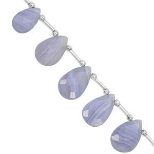 78cts Blue Lace Agate Top Side Drill Faceted Pear Approx 14.5x8 to 21x13mm, 17cm Strand with Spacers