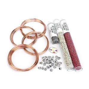 Silver Serpent; Crystal AB Glass Cabochon, Bicones, Miyuki 8/0, 11/0, 15/0, Memory Wire