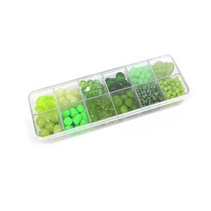Preciosa Pressed Bead Box - Green Mix