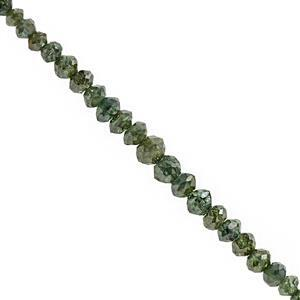 1.75cts Green Diamond Graduated Faceted Rondelle Approx 1.5x1 to 3x2mm, 8cm Strand with Spacers
