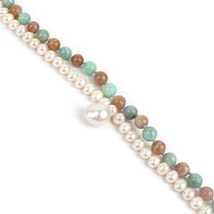 Pearl Meditation Kit; 1mx8mm Pink Potato Pearls, Peach Moonstone & Amazonite & 30mm Nucleated Pearl