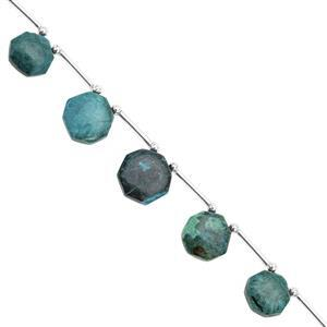 55cts Chrysocolla Corner Drill Graduated Smooth Octagon Approx 9 to 14.50mm, 13cm Strand with Spacers