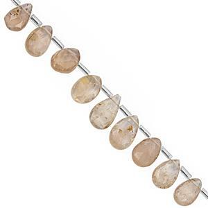 62cts Imperial Topaz Top Side Drill Graduated Faceted Pear Approx 8x5.5 to 12x8mm, 19cm Strand with Spacers