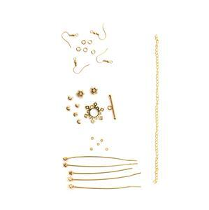 Gold Plated Base Metal Snowflake Findings Pack, 28pcs