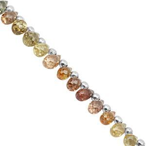 15cts Canary Zircon Top Side Drill Graduated Faceted Drop Approx 4.5x3 to 5.5x3mm, 9cm Strand With Spacers