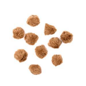 Tan Faux Fur Pom Poms, Approx 4cm (10pk)