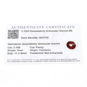 3.15cts Gooseberry Grossular Garnet 11x9mm Oval  (N)