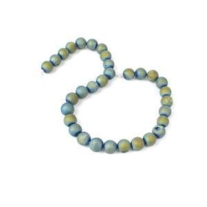 390cts Green Blue Druzy Agate Plain Rounds Approx 12mm 38cm