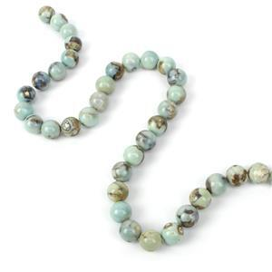 240cts Dyed Aqua Blue Marble Agate Plain Rounds Approx 10mm, 38cm Strand