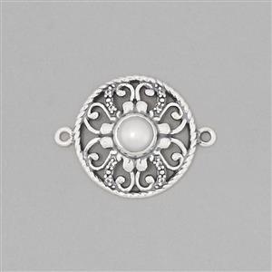 925 Sterling Silver Oxidised Vintage Connector Approx 26x20mm Inc. Fresh Water Cultured Pearl & White Topaz Round